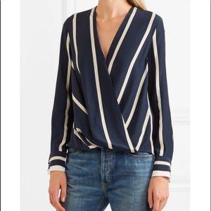 RAG & BONE Wrap effect striped silk blouse